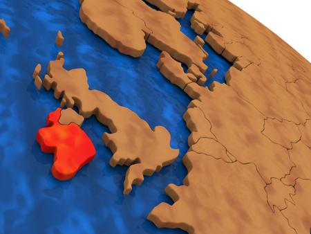 eire: Map of Ireland on wooden globe. 3D illustration