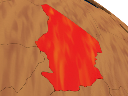 chadian: Map of Chad on wooden globe. 3D illustration