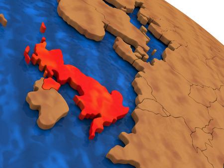 Map of United Kingdom on wooden globe. 3D illustration