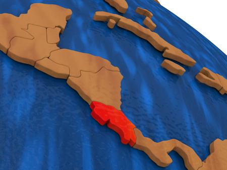costa rica: Map of Costa Rica on wooden globe. 3D illustration