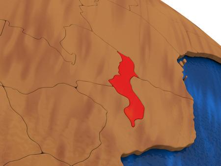 malawi: Map of Malawi on wooden globe. 3D illustration Stock Photo
