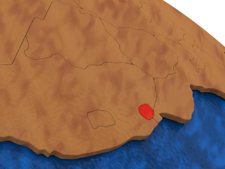 swaziland: Map of Swaziland on wooden globe. 3D illustration Stock Photo