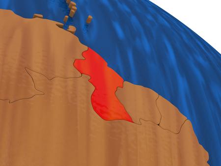 Map of Guyana on wooden globe. 3D illustration