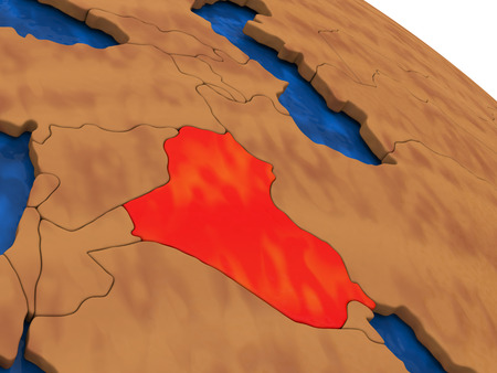 diplomacy: Map of Iraq on wooden globe. 3D illustration