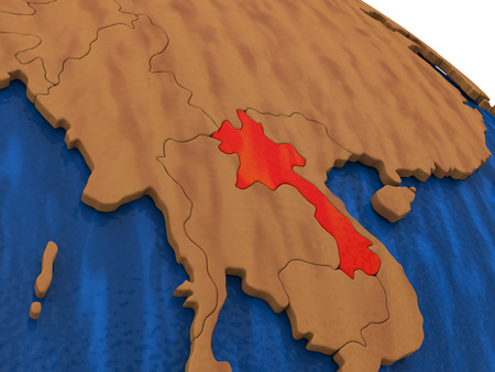 lao: Map of Laos on wooden globe. 3D illustration
