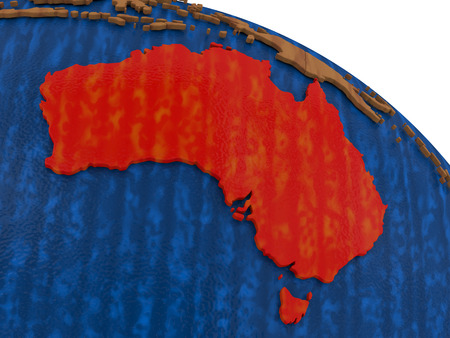 aussie: Map of Australia on wooden globe. 3D illustration