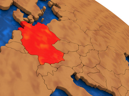 deutschland: Map of Germany on wooden globe. 3D illustration Stock Photo