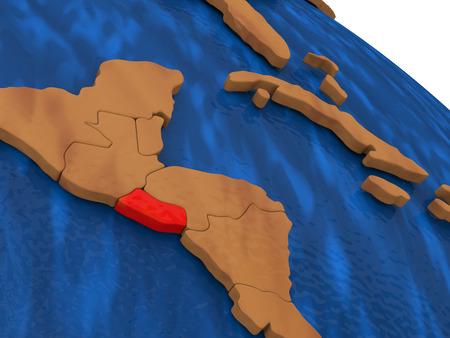 mapa de el salvador: Map of El Salvador on wooden globe. 3D illustration