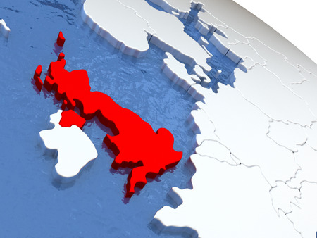 briton: Map of United Kingdom on globe with metallic land and realistic water. 3D illustration