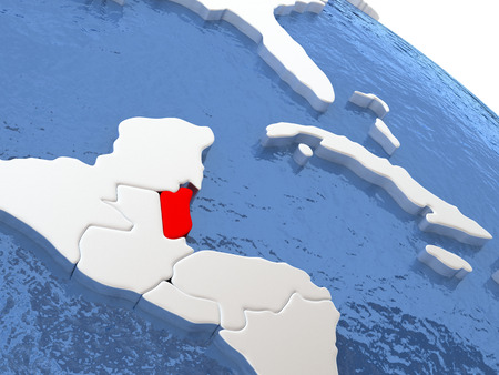 diplomacy: Map of Belize on globe with metallic land and realistic water. 3D illustration