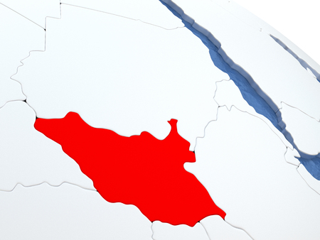 south sudan: Map of South Sudan on globe with metallic land and realistic water. 3D illustration