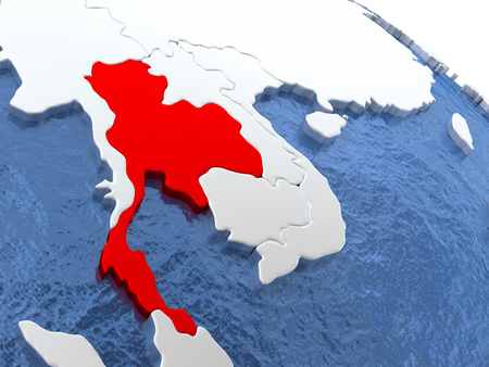 siamese: Map of Thailand on globe with metallic land and realistic water. 3D illustration Stock Photo