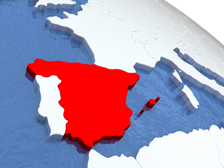 kingdom of spain: Map of Spain on globe with metallic land and realistic water. 3D illustration