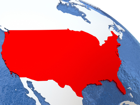 diplomacy: Map of USA on globe with metallic land and realistic water. 3D illustration Stock Photo