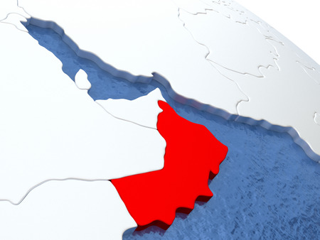 Map of Oman on globe with metallic land and realistic water. 3D illustration