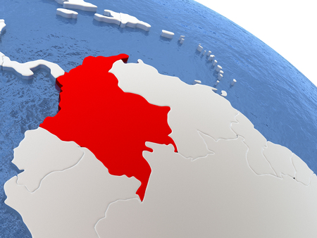 Map of Colombia on globe with metallic land and realistic water. 3D illustration