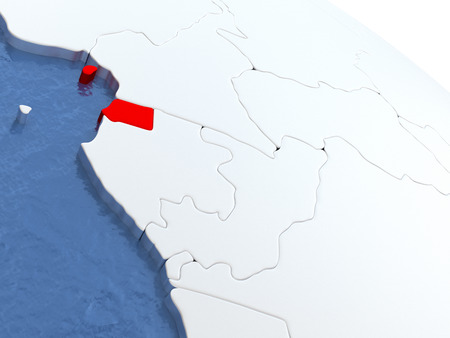 equatorial guinea: Map of Equatorial Guinea on globe with metallic land and realistic water. 3D illustration