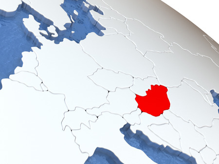magyar: Map of Hungary on globe with metallic land and realistic water. 3D illustration Stock Photo