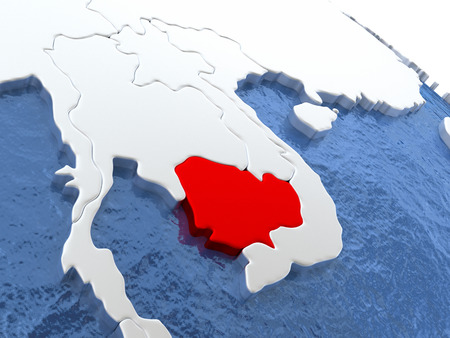 cambodian: Map of Cambodia on globe with metallic land and realistic water. 3D illustration