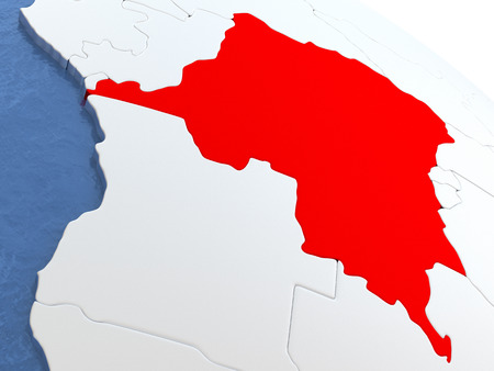 Map of Democratic Republic of Congo on globe with metallic land and realistic water. 3D illustration