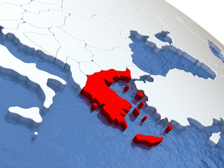 Map of Greece on globe with metallic land and realistic water. 3D illustration