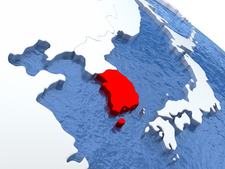 south asian: Map of South Korea on globe with metallic land and realistic water. 3D illustration