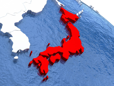 nippon: Map of Japan on globe with metallic land and realistic water. 3D illustration