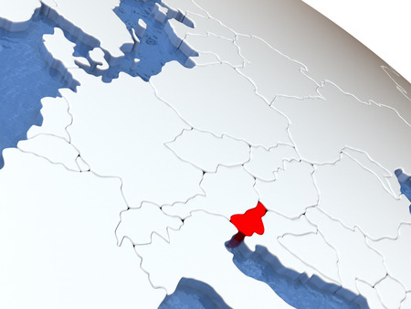diplomacy: Map of Slovenia on globe with metallic land and realistic water. 3D illustration