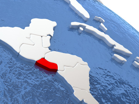 diplomacy: Map of El Salvador on globe with metallic land and realistic water. 3D illustration