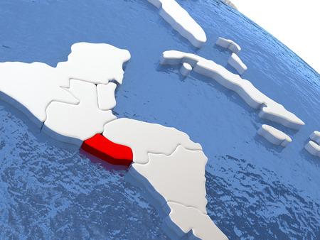 mapa de el salvador: Mapa de El Salvador en el globo con la tierra metálico y agua realista. ilustración 3D