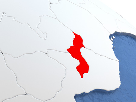 malawian: Map of Malawi on globe with metallic land and realistic water. 3D illustration Stock Photo