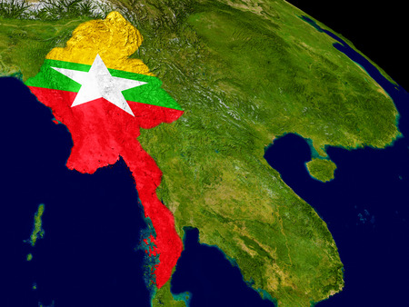 Map of Myanmar with embedded flag on planet surface. 3D illustration. Elements of this image furnished by NASA.