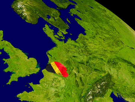 Map of Belgium with embedded flag on planet surface. 3D illustration.