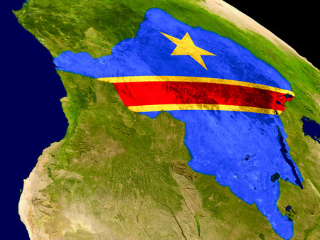Map of Democratic Republic of Congo with embedded flag on planet surface. 3D illustration. Stock Photo