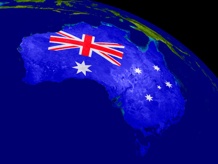 aussie: Map of Australia with embedded flag on planet surface. 3D illustration.