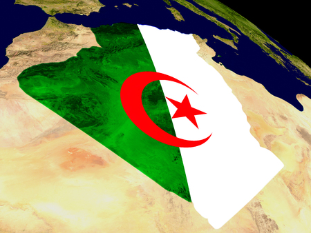 Map of Algeria with embedded flag on planet surface. 3D illustration.