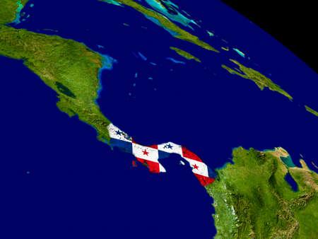 bandera de panama: Mapa de Panamá con la bandera incrustada en la superficie del planeta. Ilustración 3D. Foto de archivo