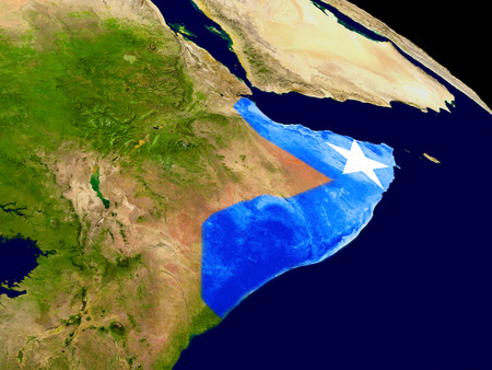embedded: Map of Somalia with embedded flag on planet surface. 3D illustration. Stock Photo