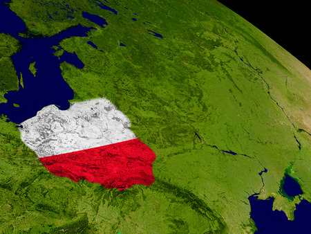 embedded: Map of Poland with embedded flag on planet surface. 3D illustration. Stock Photo