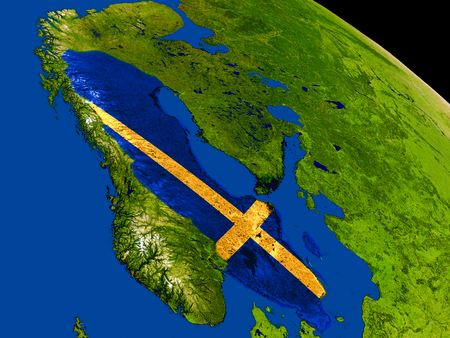 Map of Sweden with embedded flag on planet surface. 3D illustration.