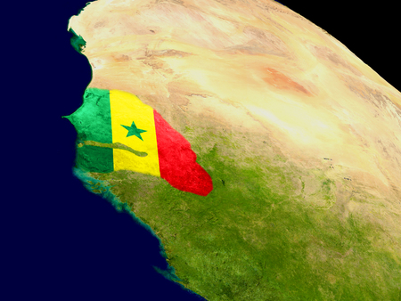 Map of Senegal with embedded flag on planet surface. 3D illustration. Stock Photo