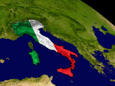 italia: Map of Italy with embedded flag on planet surface. 3D illustration. Stock Photo