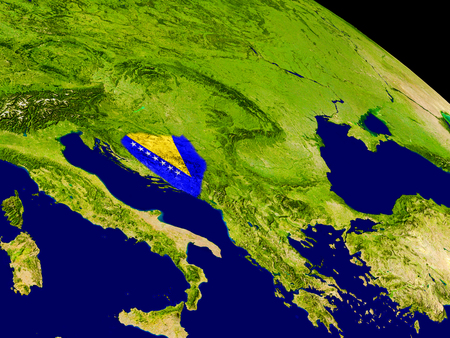 Map of Bosnia with embedded flag on planet surface. 3D illustration. Stock Photo