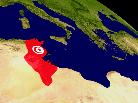Map of Tunisia with embedded flag on planet surface. 3D illustration. Elements of this image furnished by NASA.