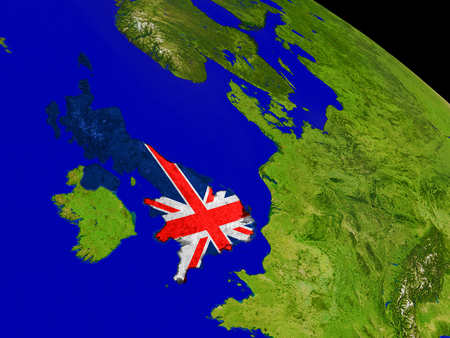 Map of United Kingdom with embedded flag on planet surface. 3D illustration. Stock Photo