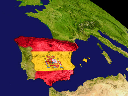 spaniard: Map of Spain with embedded flag on planet surface. 3D illustration.