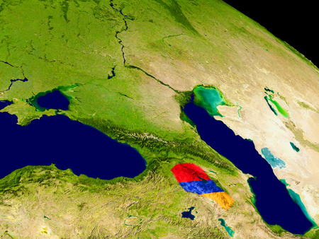 armenian: Map of Armenia with embedded flag on planet surface. 3D illustration.