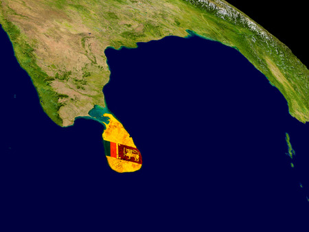 Map of Sri Lanka with embedded flag on planet surface. 3D illustration. Stock Photo