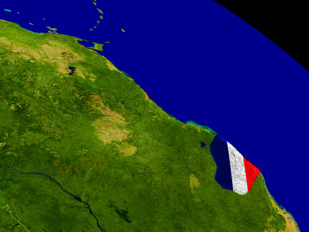 guiana: Map of French Guiana with embedded flag on planet surface. 3D illustration. Stock Photo