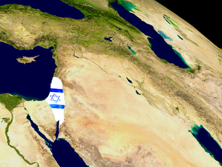 embedded: Map of Israel with embedded flag on planet surface. 3D illustration.